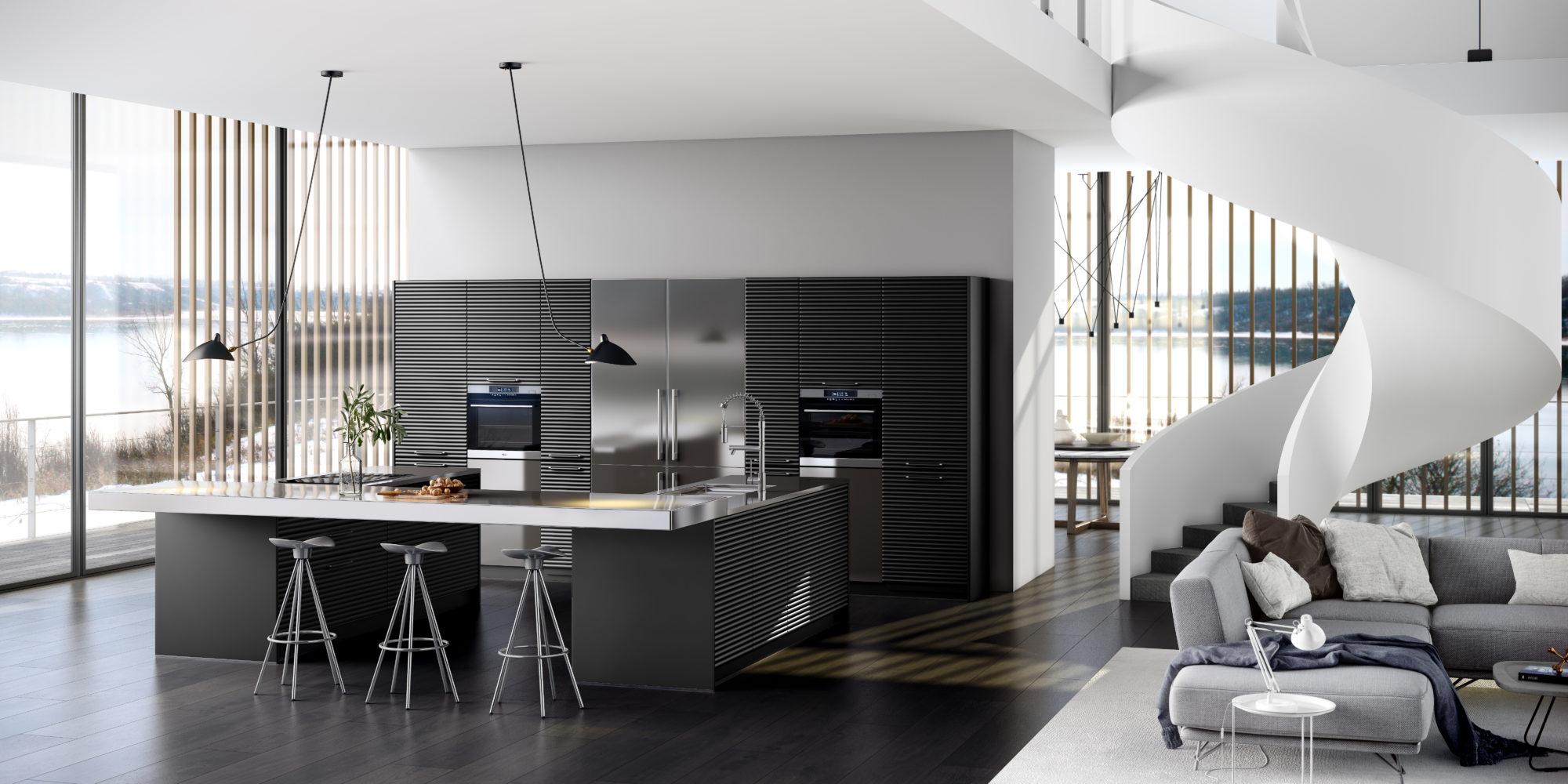 cocina negra y entorno blanco cole06